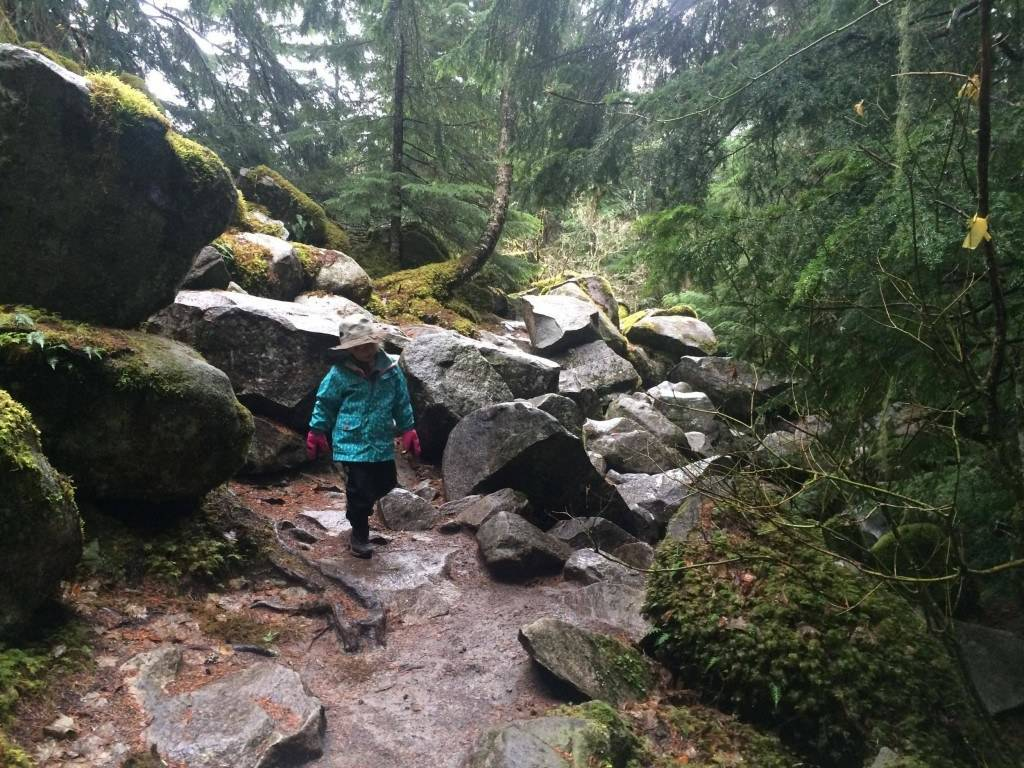 Eden just finished navigating a small boulder field